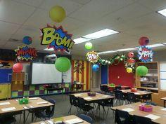 Superhero Classroom Decorations New Super Heroes themed Classroom - Brainstroming Decor Idea Superhero School Theme, Superhero Classroom Decorations, Superhero Room, School Themes, Classroom Themes, Superhero Party, 2nd Grade Classroom, New Classroom, Classroom Displays