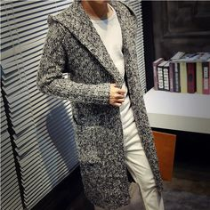 Men's Long Cardigan Sweater