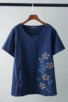 Casual Loose Floral Embroidery Short Sleeve Women Vintage T-Shirts Cheap - NewChic Mobile Shirt Embroidery, Vintage Embroidery, Floral Embroidery, Embroidery Thread, Casual Outfits, Fashion Outfits, Embroidered Clothes, Western Outfits, T Shirts For Women