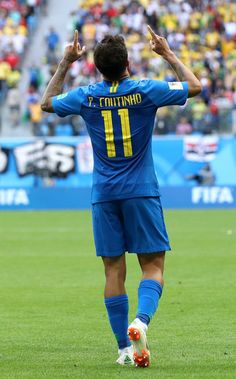 Philippe Coutinho of Brazil celebrates scoring the opening goal during the 2018 FIFA World Cup Russia group E match between Brazil and Costa Rica at Saint Petersburg Stadium on June 2018 in Saint. Get premium, high resolution news photos at Getty Images Russia World Cup, Brazil World Cup, Fifa World Cup, World Cup 2018, Coutinho Wallpaper, Brazil Football Team, Real Madrid Cristiano Ronaldo, Soccer Baby, Team Wallpaper