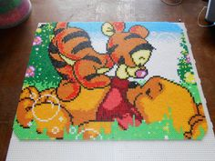 Baby Tigger and Baby Winnie hama perler beads pegboards) by swarovski Perler Bead Designs, Easy Perler Bead Patterns, Perler Bead Templates, Hama Beads Design, Diy Perler Beads, Perler Bead Art, Pearler Beads, Fuse Beads, Hama Disney