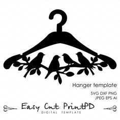 Hanger Bird Branch Die Cut wooden template File (eps, svg, dxf, ai, png) DIY BRIDE DRESS wedding Vector instant Digital laser cutting file