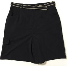 Charter Club Golf Women's Black Flat Front Shorts With Belt Size 10 NWT #CharterClub #Shorts