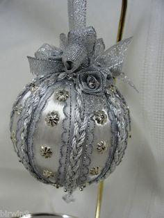 Silver Christmas Tree Ornament Handmade w/Ribbons, Braids, Medallions  Roses | eBay