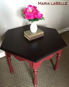 red side table before after not just an accent color , chalk paint, diy, painted furniture
