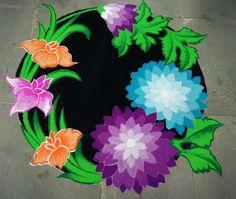 Floral Diwali Rangoli!! Rangoli Designs Latest, Rangoli Border Designs, Latest Rangoli, Colorful Rangoli Designs, Rangoli Patterns, Rangoli Designs Diwali, Rangoli Designs Images, Beautiful Rangoli Designs, Colour Rangoli