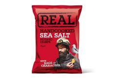 Real Handcooked Sea Salt, inköpt på NK. ca 25 kr 150g. väldigt salta, men knapriga och spröda med fin färg. tyvärr inte mycket potatissmak. 3/5