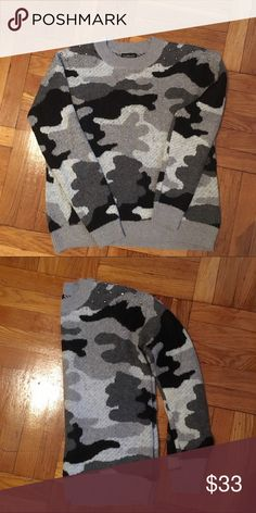 Topshop studded camo sweater Like new! All studs are in place Topshop Sweaters