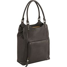I really like this Laptop tote- It's bucket style so the laptop goes in on it's side.  I don't know about you but I sometimes bump things (and people) with the wide ones.  lol