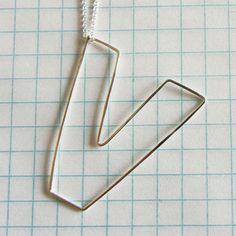 Bubble Letter V Necklace,