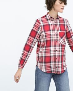 Image 4 of CHECK SHIRT WITH POCKET from Zara