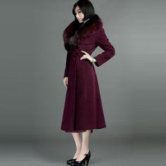 Fox Fur Fit Woolen Overcoats Purple - $760 - SKU: 184760 - Buy Now: http://elegente.com/nzx.html #ChineseladyQipao #Qipao #Cheongsam