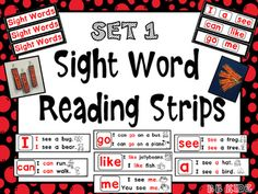 This is a packet of sight word reading strips. In this first set there are 7 sight words for starting to read. Each strip is made up of easy sentences for learning how to read.  There are 30 strips per stack to put on a ring. These are great for Kindergarten students who are just starting to learn to point to words and the concept of matching print one to one.