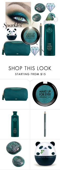 """""""#PolyPresents: Sparkly Beauty"""" by buddahbar ❤ liked on Polyvore featuring beauty, Anya Hindmarch, MAKE UP FOR EVER, Oribe, TONYMOLY, Unicorn Lashes, contestentry and polyPresents"""