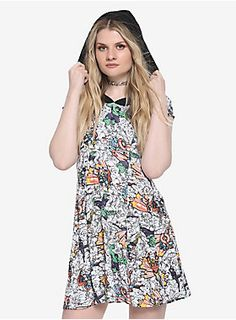 40dad30720cc1 Show your love for Marvel comics    Her Universe Marvel The Avengers Comic  Hoodie Dress. HotTopic