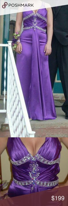 Prom dress size 4 Size four, great dress! Metallic silky purple. Worn only for fitting and for prom! Form fitting up top. Beautiful back design. Hemmed for someone who is 5'1 and wearing 4 inch heels. Paid 400 for the dress before the alteration. Dresses Prom