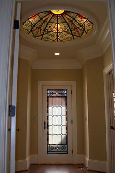 This stained glass dome is only five feet across and is in between a master bedroom and master bath. The stained glass door leads to the private brick patio. Perfect for my morning coffee or evening glass of wine. Oh, and the dome has a dimmer. Talk about ambiance...