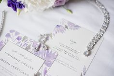 Baltimore Zoo Wedding — East Made Event Company and Meghan Rose Photography. Purple wedding invitation suite, spring wedding, wedding jewelry.