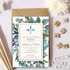 Watercolor Flora Baptism Invitation by NoFussPrintable on Etsy