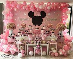 Ideas Birthday Decorations Backdrop Mickey Mouse For 2019 Minnie Mouse Birthday Decorations, Minnie Mouse Theme Party, Minnie Mouse First Birthday, Minnie Mouse Baby Shower, Mickey Party, 1st Birthday Party For Girls, Birthday Party Themes, Minnie Mouse Rosa, Alice