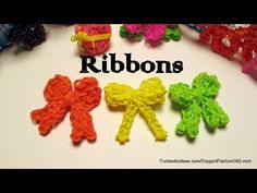 Rainbow Loom BOW with TAILS charm. Designed and loomed by Elegant Fashion 360. Click photo for YouTube tutorial. 05/03/14.