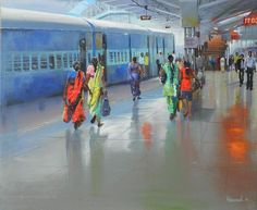 Bijay Biswaal- A ticket examiner captures the beauty of Indian Railways in these colourful paintings Watercolor Artwork, Watercolor Landscape, Landscape Paintings, Watercolour Drawings, Watercolor Sketch, Landscapes, Poster Color Painting, Love Painting, Knife Painting