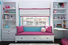 pre-school girls bedroom with window seat
