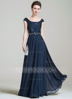 A-Line/Princess Scoop Neck Floor-Length Chiffon Lace Mother of the Bride Dress With Beading Sequins (008074200)
