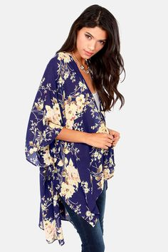2018 Newest For Sale Sale Explore Name it Teen Cherry Print Kimono Women Blue Free Shipping Affordable Cheap Sale Largest Supplier JBnjkdlRuf