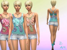 The Sims Resource: Big Flower top by Zuckerschnute20 • Sims 4 Downloads