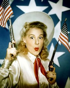 ANNIE GET YOUR GUN (1950) - Betty Hutton (pictured) as 'Annie Oakley' - Howard Keel - Louis Calhern - J. Carrol Naish - Edward Arnold - Keenan Wynn - Musical play by Irving Berlin - Based on book by Herbert & Dorothy Fields - Produced by Arthur Freed - Directed by George Sidney - MGM - Publicity Still.