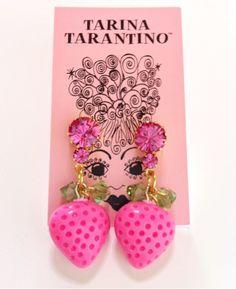 Tarina Tarantino ♡ kawaii doll jewelry strawberry girl earrings pink cutie whimsical princess thanks @catarinaregina queen  doll with the most cake