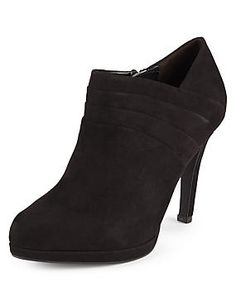 Faux Suede Wide Fit Pleated Shoe Boots with Insolia®