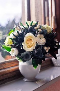 a pretty bouquet with a little bit of thistle.perfect for a dreamy Scottish wedding. LOVE THIS for Lisa and Dave Thistle Plant, Thistle Flower, Thistle Bouquet, Wedding Bouquets, Wedding Flowers, White Bouquets, Wedding Dress, Green Centerpieces, Sea Holly