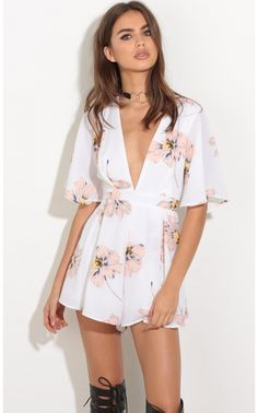 Rompers/Jumpsuits > Pleated Plunge Romper In White And Peach