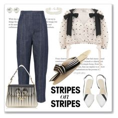 """""""Here in Brazil >;D"""" by angelicallxx ❤ liked on Polyvore featuring Zimmermann, TIBI, Juliette Botterill Millinery, J.W. Anderson, Kenneth Jay Lane, stripesonstripes and PatternChallenge"""