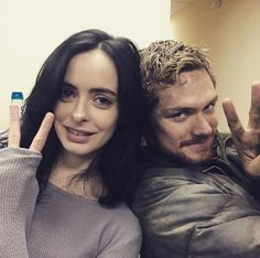 Krysten Ritter (Jessica Jones) and Finn Jones (Iron Fist)