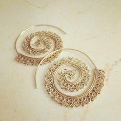 Brass Spiral Earrings, Boho Earrings, Tribal Earrings, Hoop Earrings, Gold Earrings, Gipsy Earrings, Tribal Belly Dance Jewellery. by LalaBoho on Etsy https://www.etsy.com/listing/234304103/brass-spiral-earrings-boho-earrings