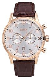 BOSS HUGO BOSS Chronograph Leather Strap Watch, 44mm