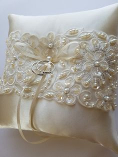 Ringbearer Pillow Wedding Cushion Wedding Ring by JLWeddings