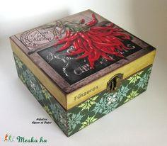 Fűszeres doboz (49) (NikoLizaDekor) - Meska.hu Decorative Boxes, Diy, Home Decor, Homemade Home Decor, Bricolage, Do It Yourself, Decoration Home, Decorative Storage Boxes, Fai Da Te