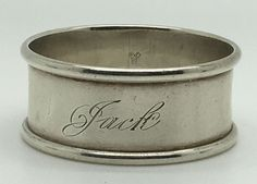 Sterling Silver Napkin Ring Holder Jack Name Engraved Classic Border Round Gift Silver Napkin Rings, Silver Plate, Cuff Bracelets, Objects, Sterling Silver, Classic, Gifts, Vintage, Ebay
