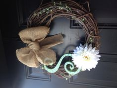 Burlap Ribbon Wreath at the Stringer home!