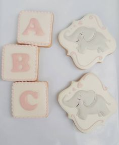 "70 Likes, 24 Comments - Leigh H. Newty (@babygabeycookies) on Instagram: ""Sweet baby girl shower cookies. I must say Elephants are among my favorite animals.…"""