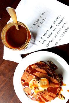 Banana Pancakes...with Bourbon Caramel Sauce  http://sweetstacks.com/makin-banana-pancakes-bourbon-caramel-sauce/