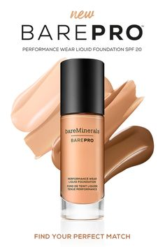 BAREPRO™ Performance Wear Liquid Foundation SPF 20, a full coverage 24-hour wear foundation that cares while it covers, improving the appearance of skin texture over time*. Available in 30 shades.