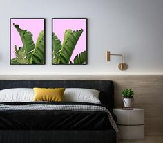 Banana Leaves Set Print/Palmtree Combo Art/Pink Wall Poster/Palmtree Printing/Banana Poster/Palm Leaf Artwork/Botanical Art/Leaves Poster Frame Download, Banana Leaves, International Paper Sizes, Pink Walls, Etsy App, Botanical Art, Poster Wall, All Design, Just In Case