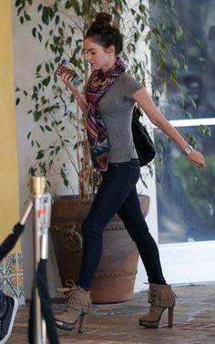 Megan Fox wearing Theodora & Callum Teal Multi Navajo Blanket Scarf B Brian Atwood Tempesta Suede Platform Booties