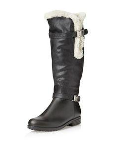 abe89043b14 däv Women s Faux Shearling Cuff Solid Rain Boot (Black)