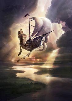 ArtStation - The Edge Chronicles; Flying Ship, Flying Boat, Fantasy City, Fantasy Places, Fantasy Art Landscapes, Fantasy Landscape, Steampunk Ship, Boat Illustration, Sea Of Stars